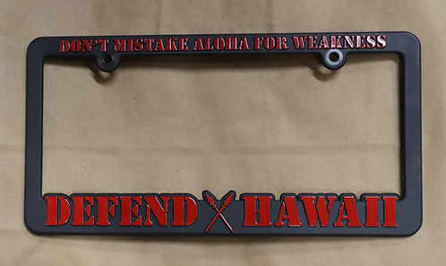 Defend Hawaii License Plate Frame Red