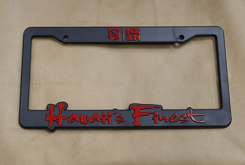 Hawaii's Finest License Plate Frame Red