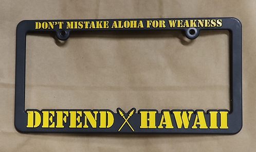 Defend Hawaii License Plate Frame Yellow