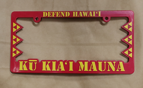 Defend Hawaii License Plate Frame Kū Kia'i Mauna Red