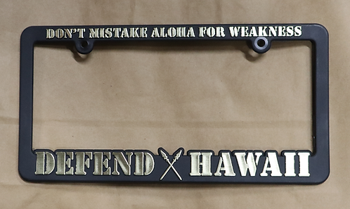 Defend Hawaii License Plate Frame Gold
