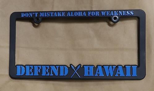 Defend Hawaii License Plate Frame Blue