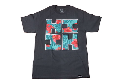 "Hawaii's Finest ""Floral Hibiscus"" Logo Print Grey"