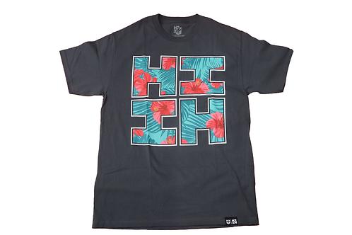 "Hawaii's Finest ""Floral Hibiscus"" Logo Print Grey"
