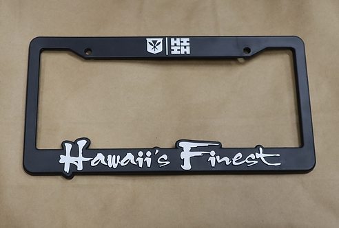 Hawaii's Finest License Plate Frame White