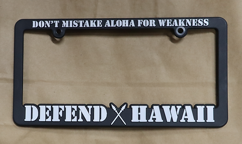 Defend Hawaii License Plate Frame White
