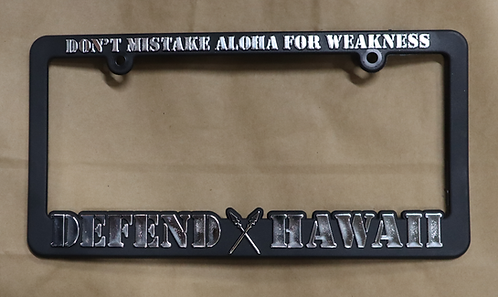 Defend Hawaii License Plate Frame Chrome
