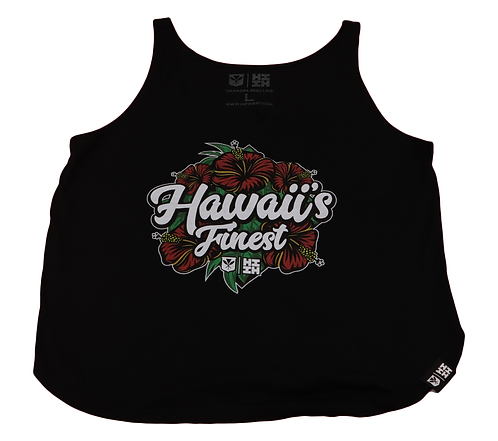 """Hawaii's Finest Womens """"Hibiscus"""" Top Red & Black"""