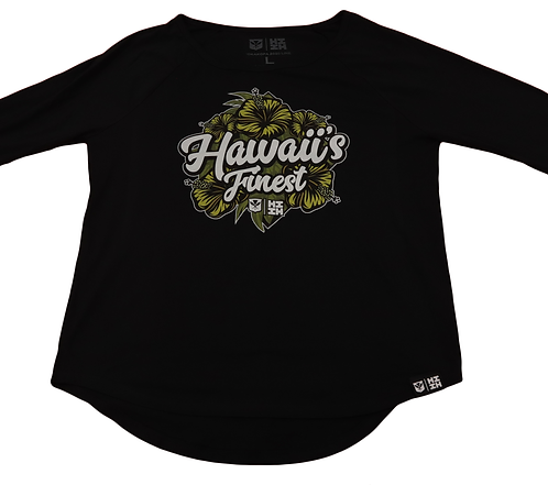 "Hawaii's Finest Womens ""Hibiscus"" Top Yellow & Black"
