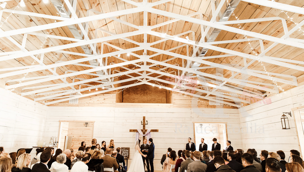 Indoor ceremony, chapel, cross, wedding