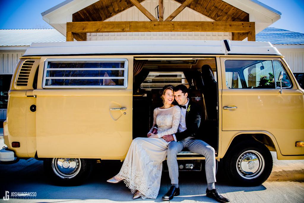 VW bus, wedding, ceremony, barn