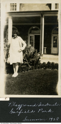 Lora Meyer (1910-2013) working at Garfield Park, Indianapolis, Indiana, 1928