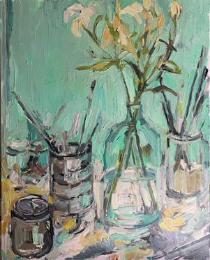 Studio Palette with Lilies