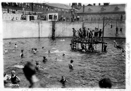 First public swimming pool, Delaware and South streets, 1912