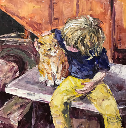 Boy with Yellow Barn Cat