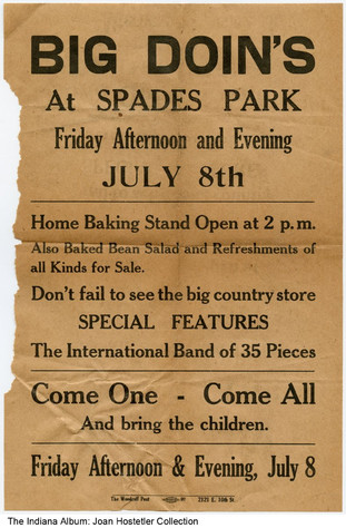 Poster for an event at Spades Park, Indianapolis, Indiana, circa 1921