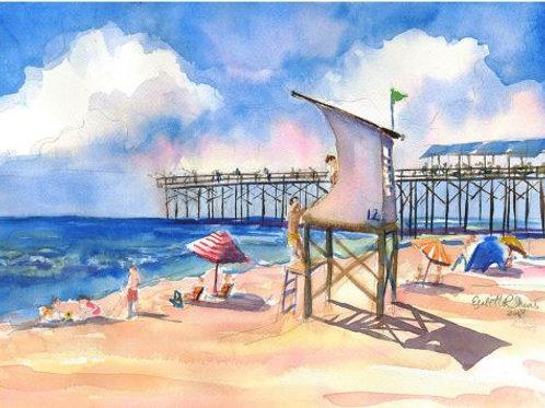 "Day at Wrightsville Beach / Original Art Print / 5""x7"" Framed Print"