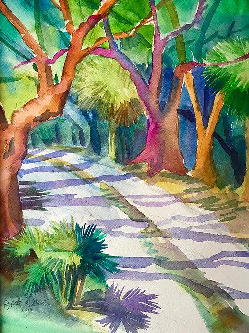 Cape Creek Road / Bald Head Island / Original Watercolor /14x19 / Wilmington NC