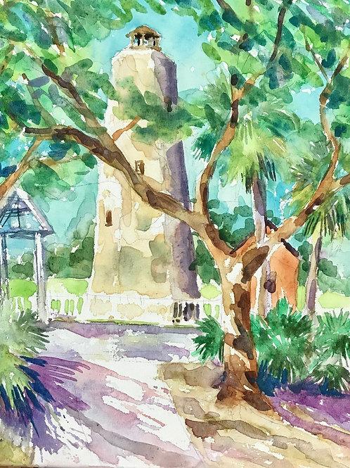 Old Baldy Through the Trees / Bald Head Island / Original Art Print