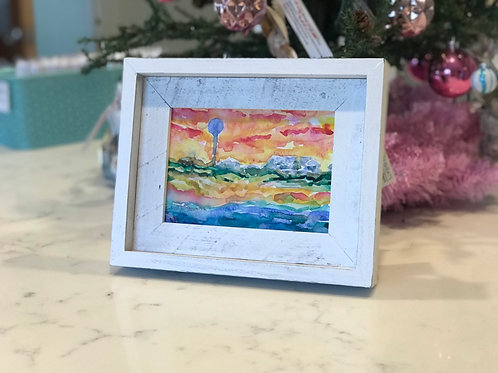 """Blazing Sky / 5""""x7""""/ Framed / Watercolor on Canvas"""