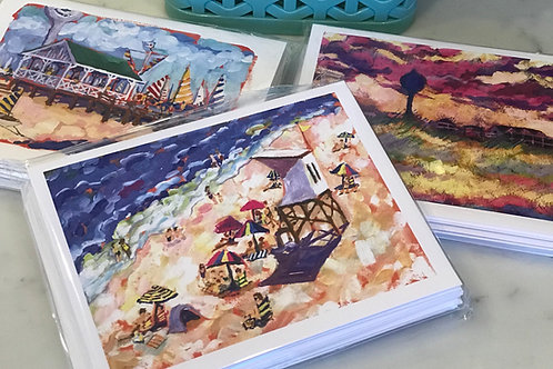 Pack of 6 note cards / Coastal NC artwork