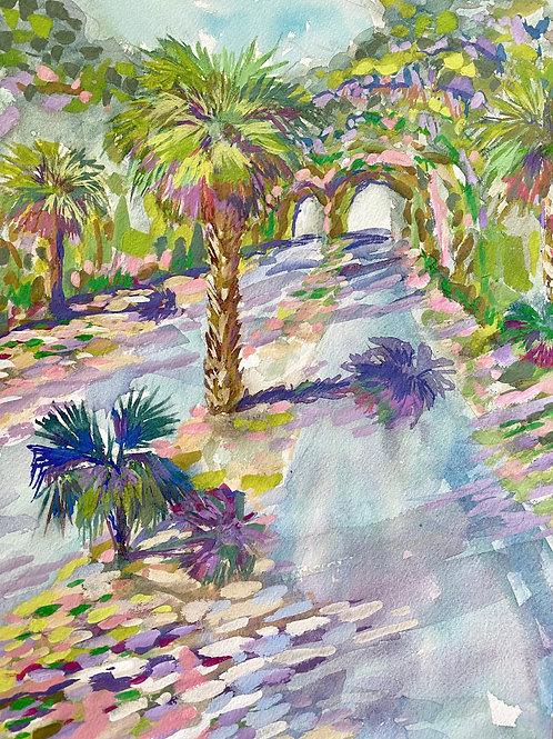 "Springtime on Federal Road / Bald Head Island / Original Gouache / 9""x12"""