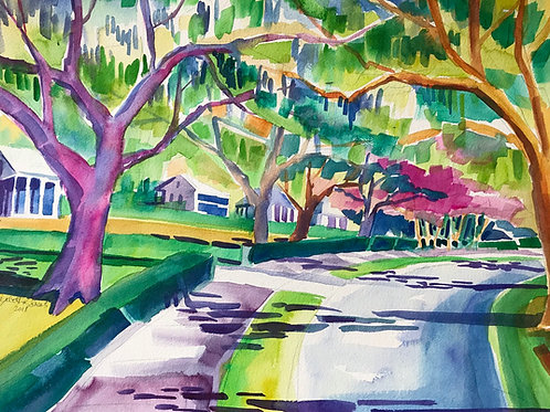 "Forest Hills Drive / Original Watercolor / 17""x23""�/ Wilmington NC"