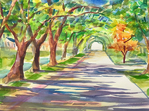 "Neighborhood Vibes/ Original Watercolor / 14""x20"" / Wilmington NC"