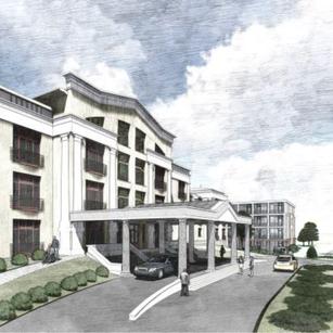 Ebből a perspektívából látható az épület új szárnya is, melyet hamarosan kezdünk építeni, hogy még több modern apartmant, lehetőséget biztosítsunk az ideköltözők számára.