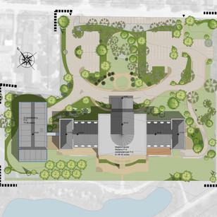 A tervrajzon elénk tárul a létesítmény adta szinte minden adottságával. Láthatjuk hogyan fog összekapcsolódni a régi és az új szárny, illetve az eredetileg is ősfás parkot még tovább bővítjük dísznövényekkel egy komoly kertész csapat segítségével, hogy ezzel is emeljék a hely színvonalát.