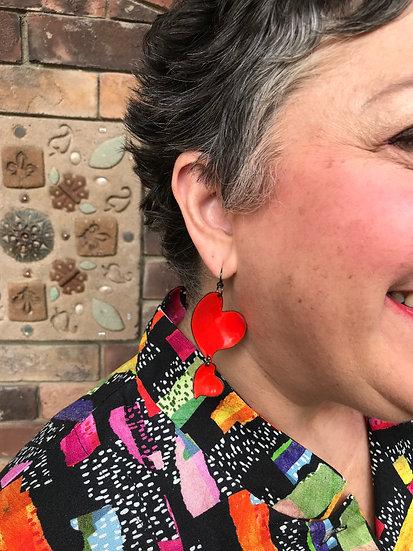 MF212 - Double Heart Earrings - Bright Red