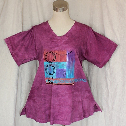 V Neck Tunic Top - Magenta