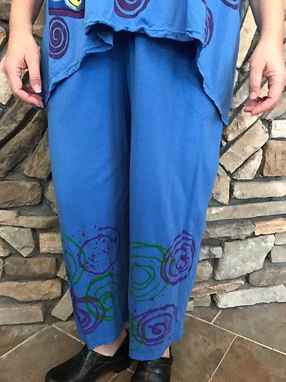 Printed Joyful Pant - Size 2 -  Blue Splat (#25)