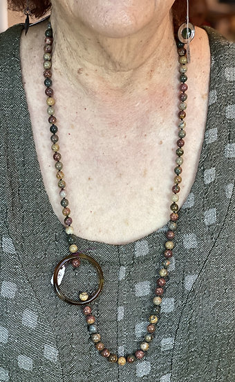 BF91 - MF Picasso Jasper Vintage Bead Necklace -  Green/brown mix