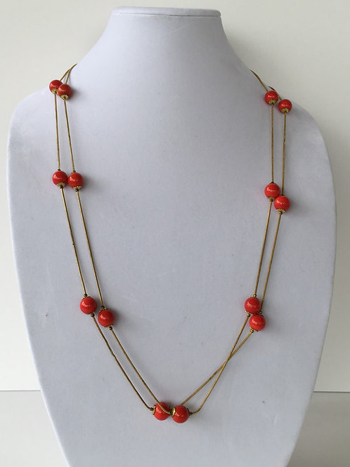 Two's Company Red Beads on Cord Necklace