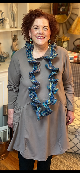 BF36 - Hatteras Handmade Curley Q Scarf - Blue Moon
