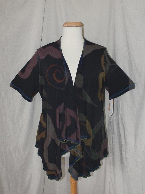 Short Sleeve Drapey Jacket - 1X in Black Mix