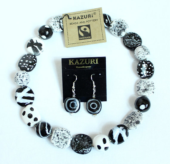 Kazuri Necklace and Earrings
