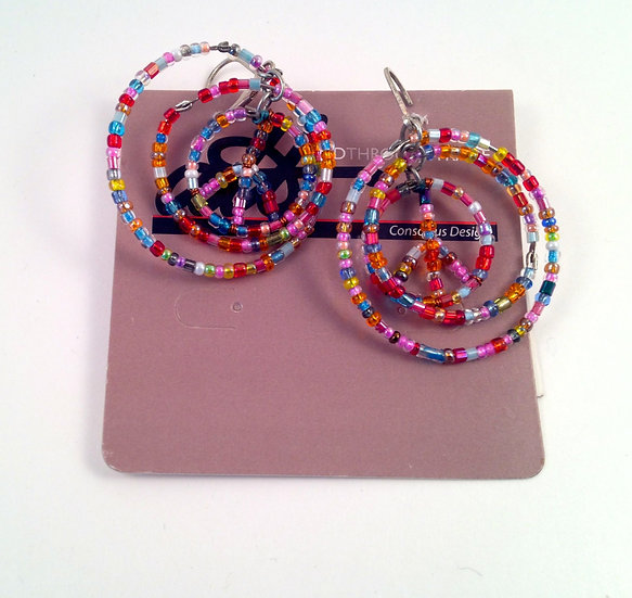 Aid Through Trade Peace Sign Beaded Earrings