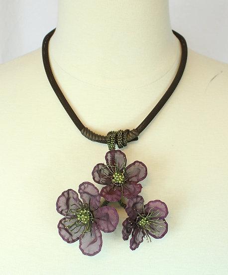 Plum Cherry Blossom Necklace