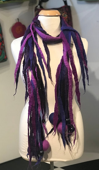 Funky Felted Life's a Ball Scarf - Purples