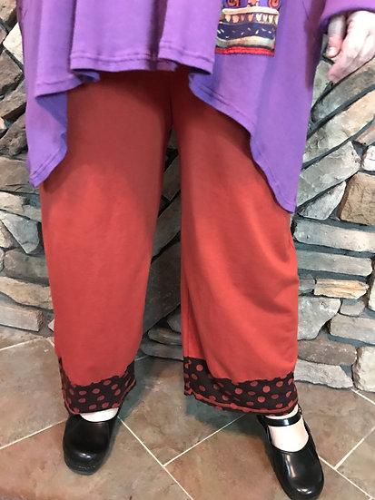 Tweedle Dum Dot Cuff Pant - Sz 3 - Duchess Red