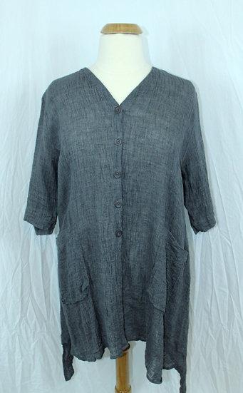 Cheyenne Grey Mix Linen Crinkle Button Jacket/Tuni