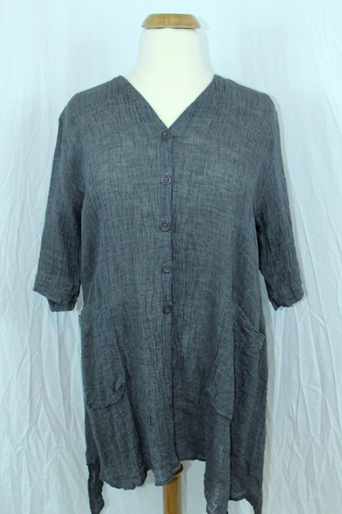 Cheyenne Grey Mix Linen Crinkle Button Jacket/Tuni
