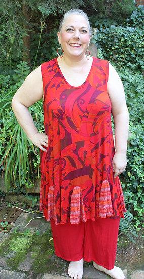Flippy Dress- Rock-It Red Swirley Modal
