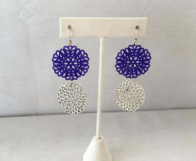Elle V Designs Earrings - Blue/Silver