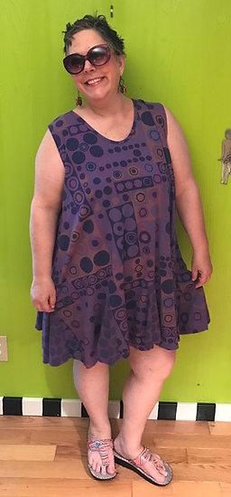 77 Flippy Dress - Purple Dots and Squares - Sz 2