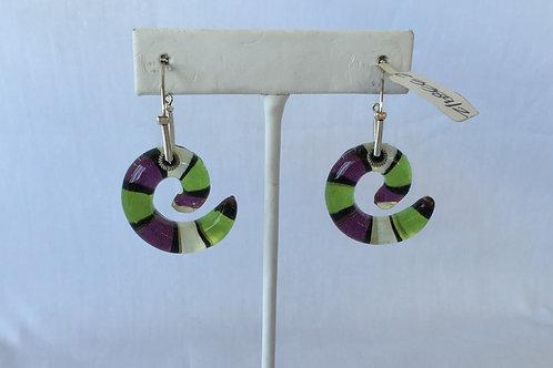 Purple and Green Spiral Earrings - E3389-2