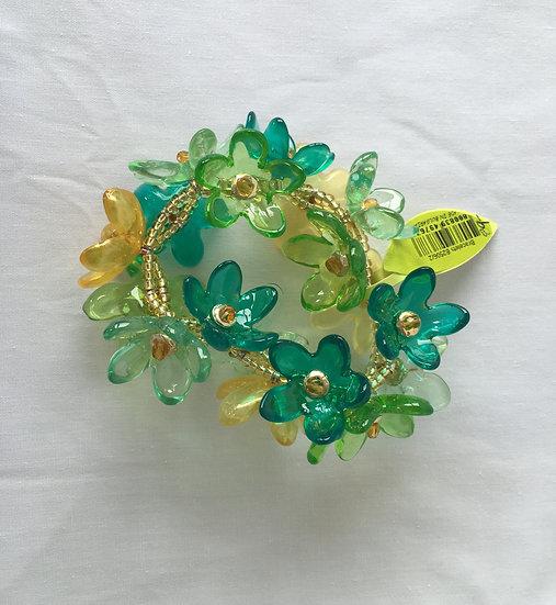 Green Flower Combo Bracelet and Ring