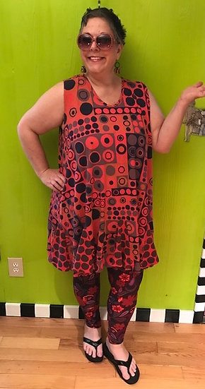74 Flippy Dress - Orange Dots and Squares - Sz 2